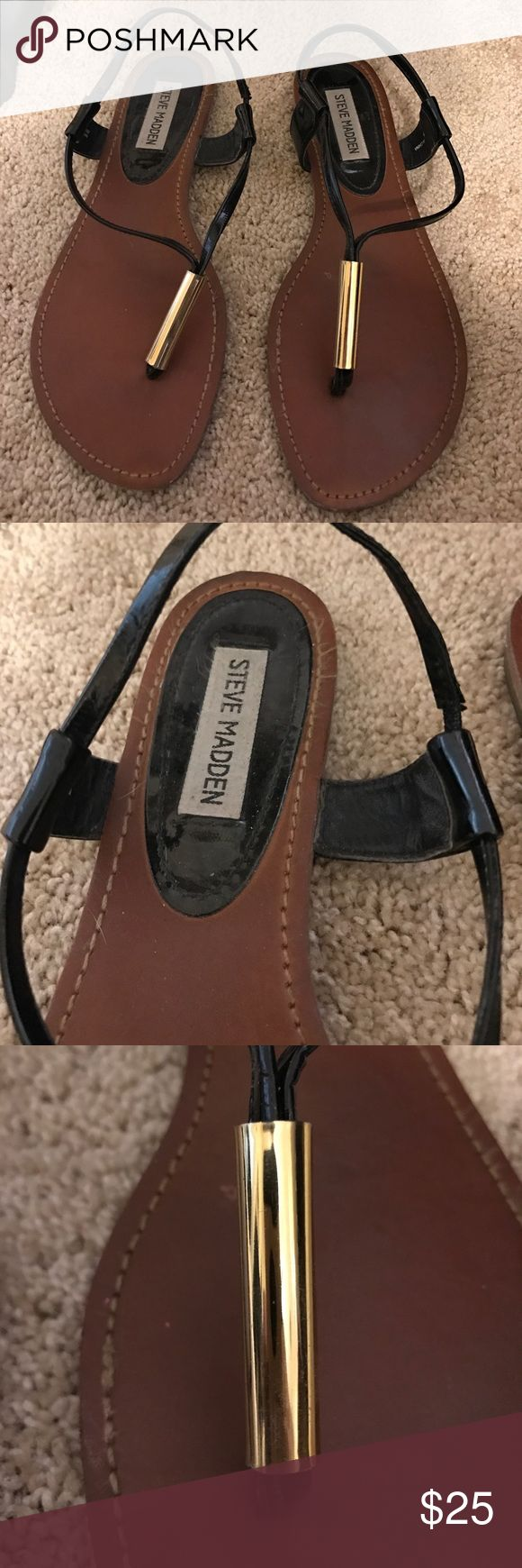 Black sandals gold bar - Steve Madden Sandals 1 Hour Sale Black Patent Leather Sandals With Gold