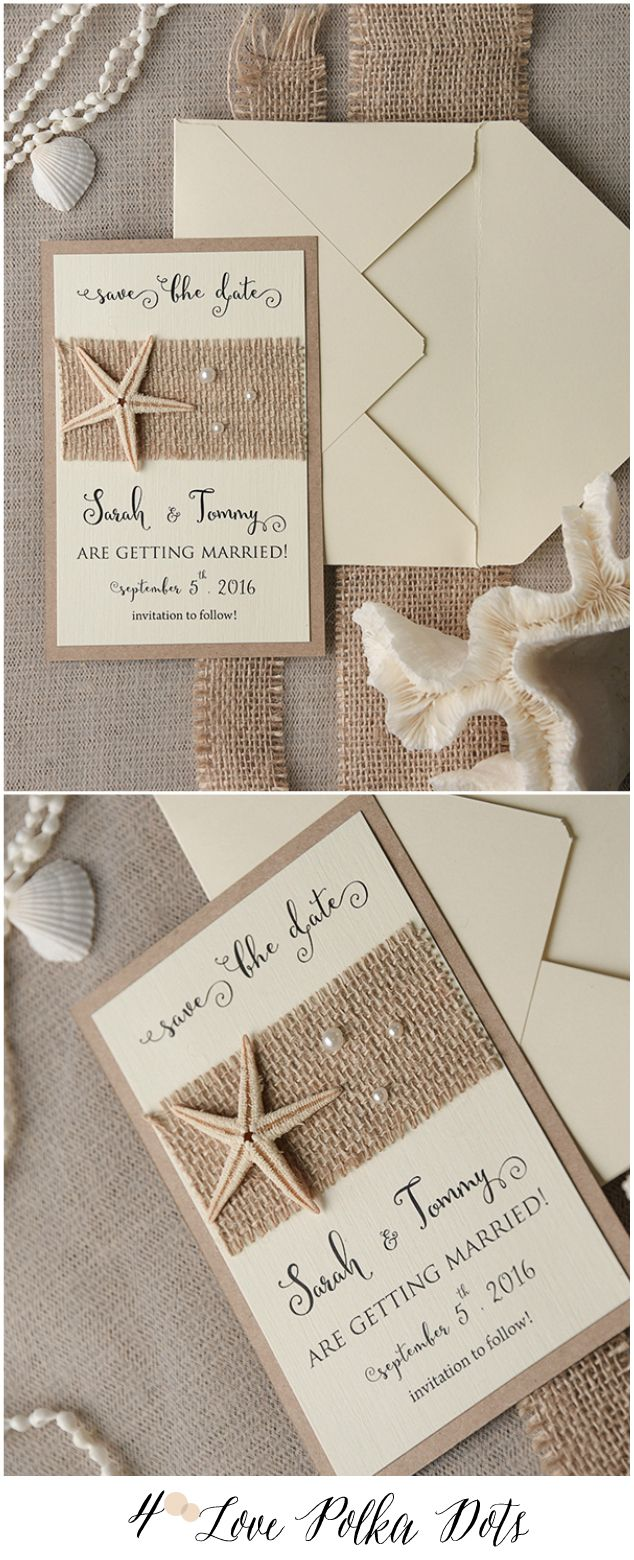 Starfish poem card - Eco Rustic Beach Wedding Save The Date Card With Real Starfish