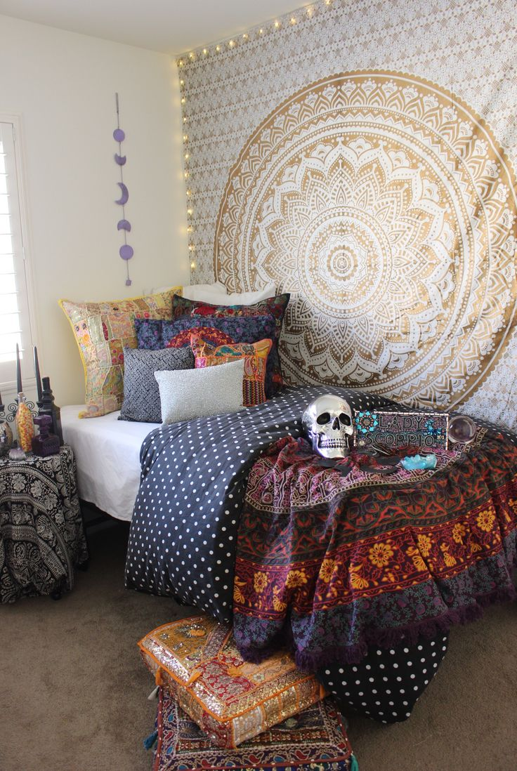 Halloween Theme ☾✩ Gold bedroom from Lady Scorpio☽ ✩ Weekender Bag Save 25% off all orders with code PINTERESTXO at checkout | Bohemian Jewelry Decor by Lady Scorpio | Shop Now LadyScorpio101.com | @LadyScorpio101 : Interior designer by Kaitlyn Johnson