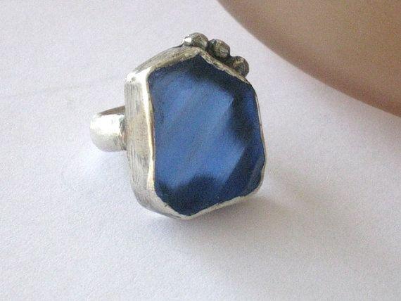 Blue Sea Glass and Silver ring Freeform handmade by riorita