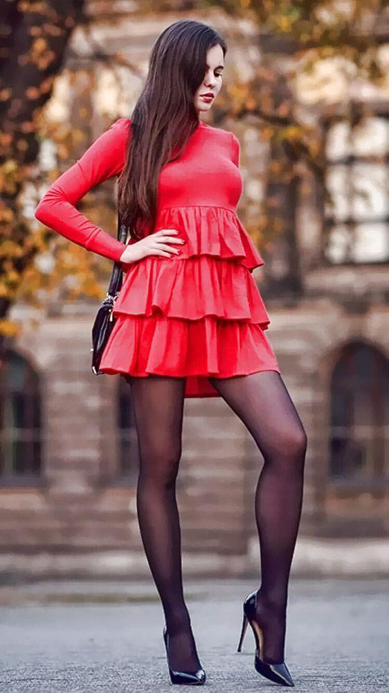 Long sleeve high neck red mini dress