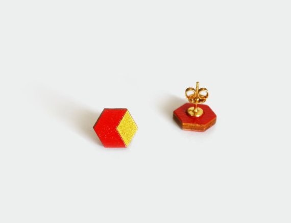 Geometric Wooden Stud Earrings, Li.Lo Hexagon red and gold, Hand-painted Hexagon Earrings