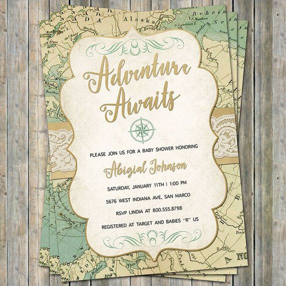 World Baby Shower Invitation, Travel Baby Shower, Adventure Awaits, Digital, Printable file