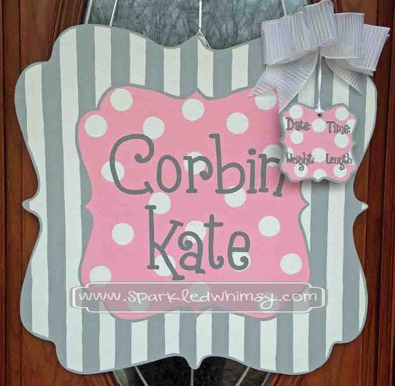 Personalized Stripe and Polkadot Baby Sign Children  Housewares  Room Decor  Sign  wreath  personalize  door decor  door hanger  door decoration  baby shower TeamEtsyBABY  door  baby  monogram  hospital  Sparkled Whimsy