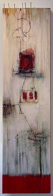 """Anne-laure Djaballah .. """"1 2 3"""" - 48x12, oil/mixed media on panel, 2008."""