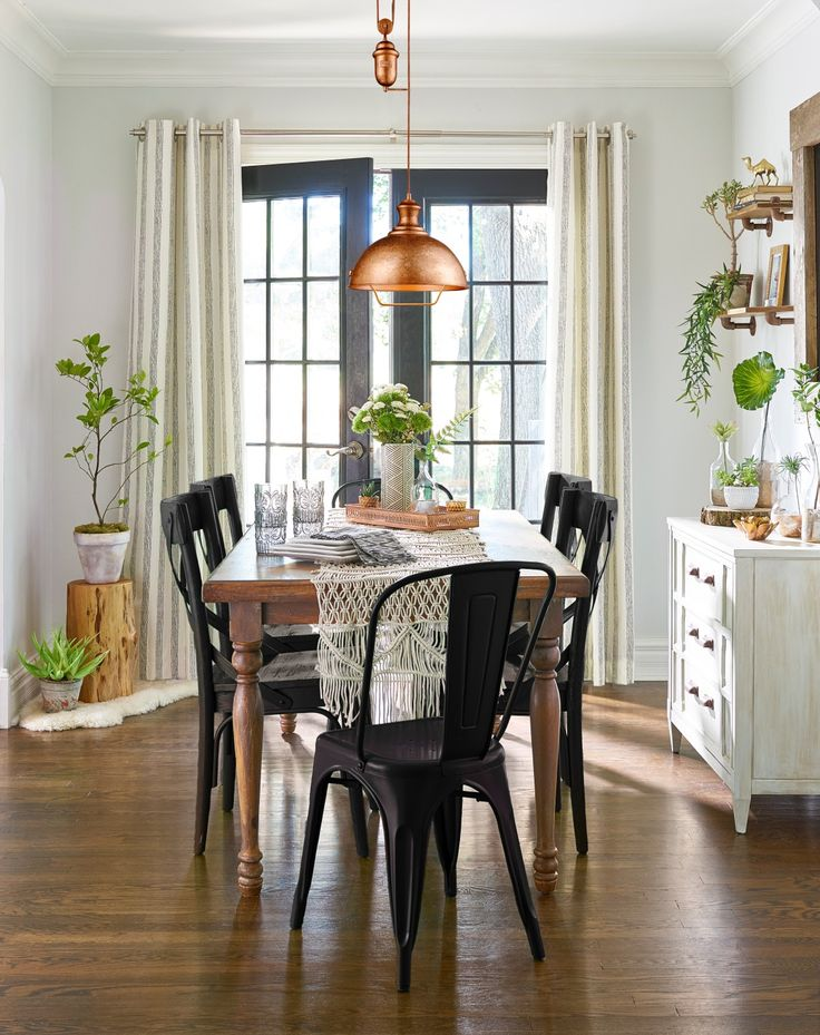For A Bold, Classic Look, Spray Paint Your Dining Chairs Black. Add