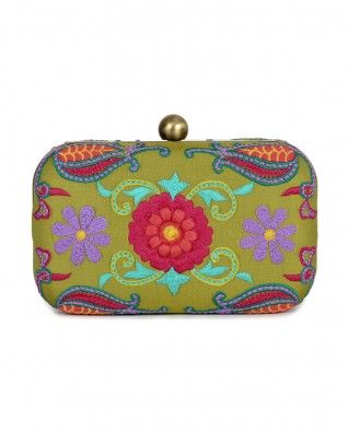 Leaf Green Clutch Bag with Floral Embroidery