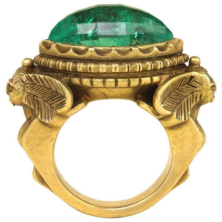 Marcus & Co. Egyptian Revival Emerald Gold Poison Ring | 1stdibs.com
