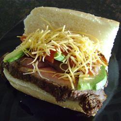 Carne Asada Steak Sandwich with Avocado Salad http://allrecipes.com ...
