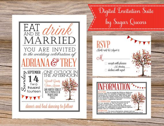 Autumn Tree State Fair Digital Invitation Suite by Sugar Queens // Includes Invitation, Insert, and your choice of traditional or postcard sized RSVP card // DIY Printable Wedding Invites Unique Fall Leaves