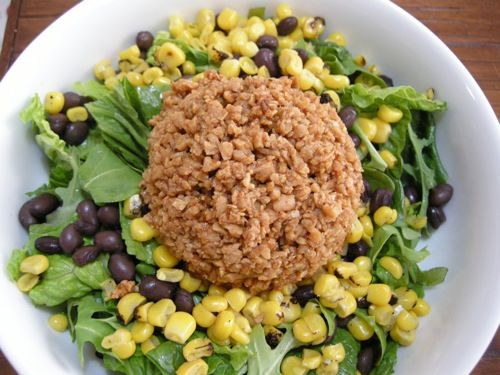 Texturized Vegetable Protein (TVP) Taco Salad w/o Cheese