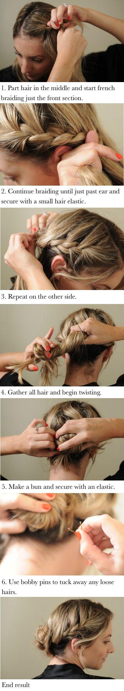 2 braids and a bun