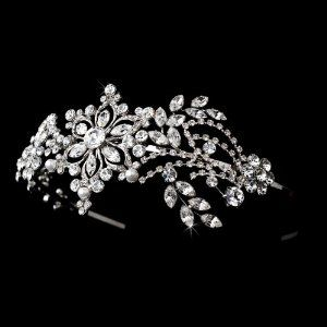 Silver Elegant Crystals Pearl Wedding Bridal Headband Tiara Melissa Kay Collection. $96.25