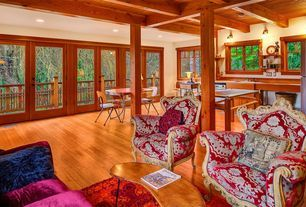 Craftsman Living Room with Exposed beam ceiling, Pantone Universe Expressions Oriental Pink Area Rug