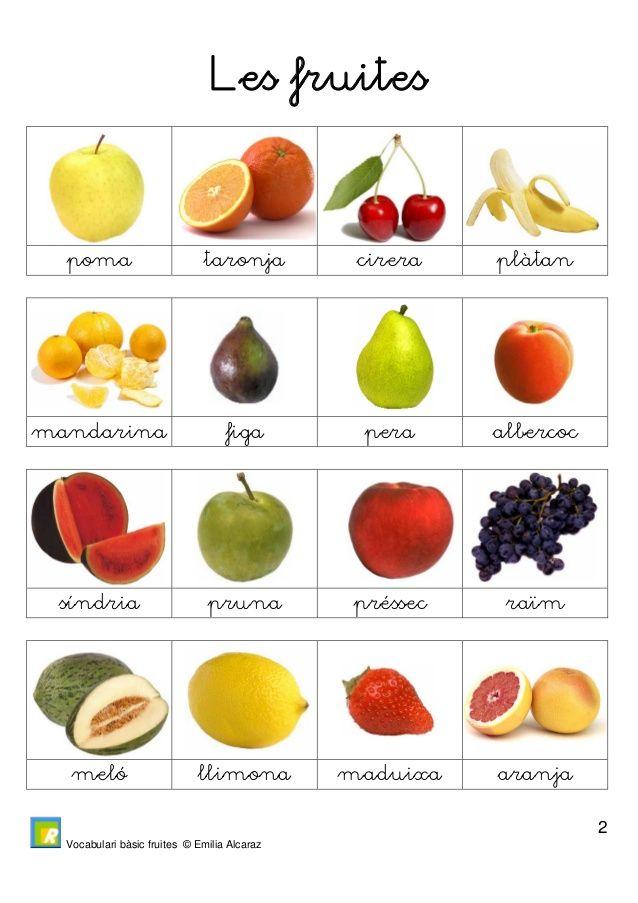 Vocabulari bàsic fruites © Emilia Alcaraz  3  Les fruites  magrana Kiwi nespra pinya  grosella arboça gerd móra  mango xir...