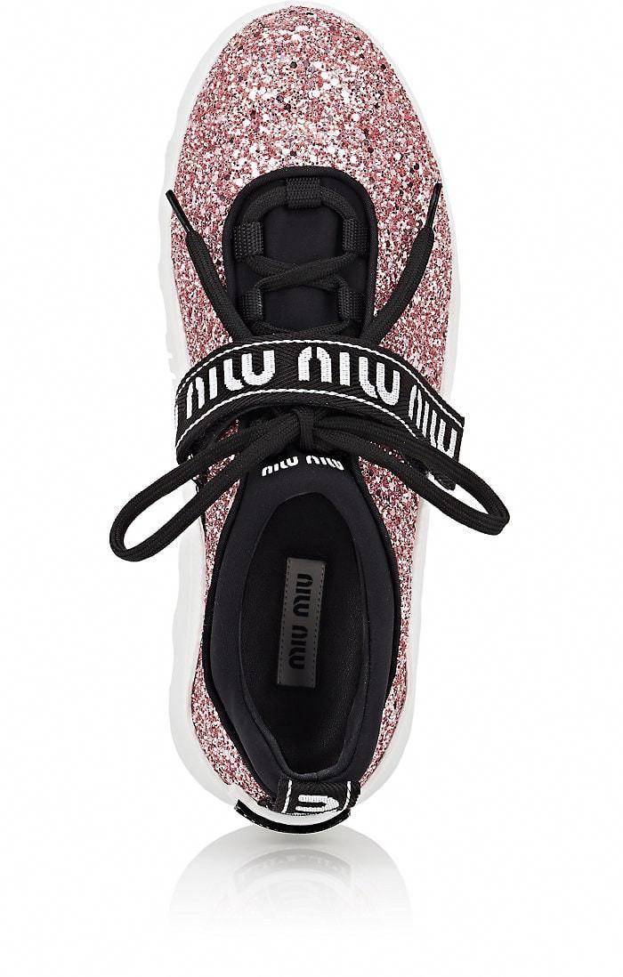 c448019b6fbe Miu Logo-Strap Glitter Platform Sneakers - 10.5  MiuMiu