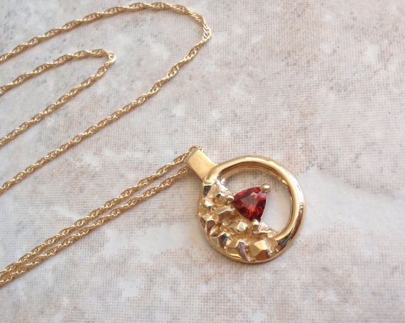 14K Garnet Necklace Yellow Gold Nugget Circle Hand Made #garnet #goldnugget #artisannecklace