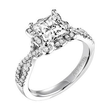 Absolutely stunning princess cut criss-cross engagement ring by @artcarvedbridal