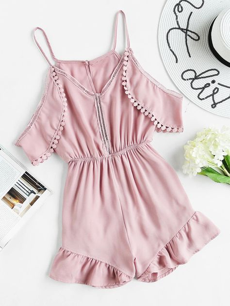 fd25d401858 Pink Plain Short Sleeve V-Neck Cami Straps Cold Shoulder Split Back ...