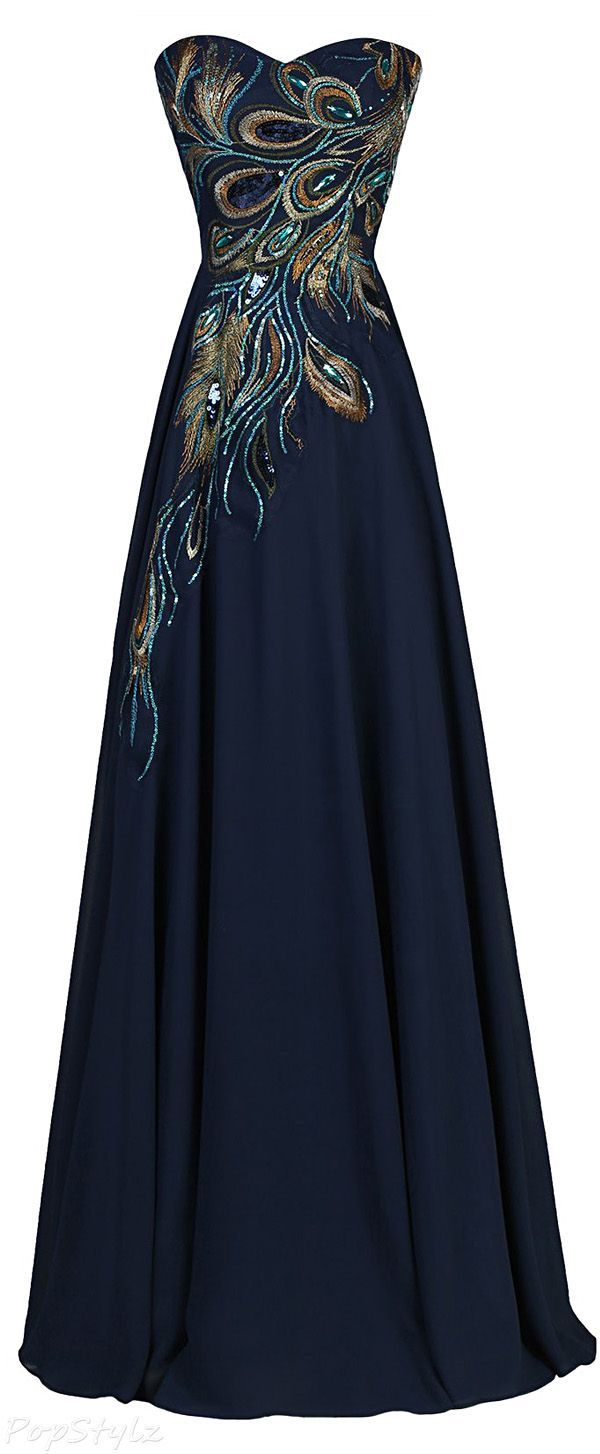 Grace Karin Long Strapless A-line Embroidered Gown