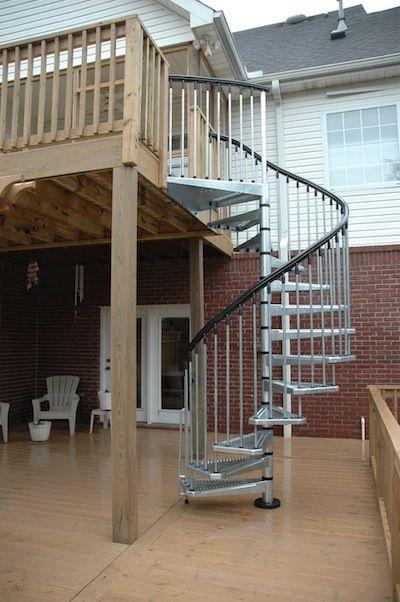 Enduro Steel spiral stairs installed on a recent deck installation. City of Huntsville nel Alabama #fontanot #fontanotshop #staircase #spiralstaircase