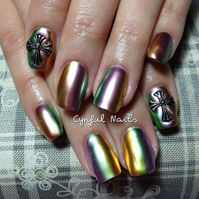 Rainbow Metallic Nail Polish: Rainbow Metallic By Cynfulnails #nail #nails #nailart