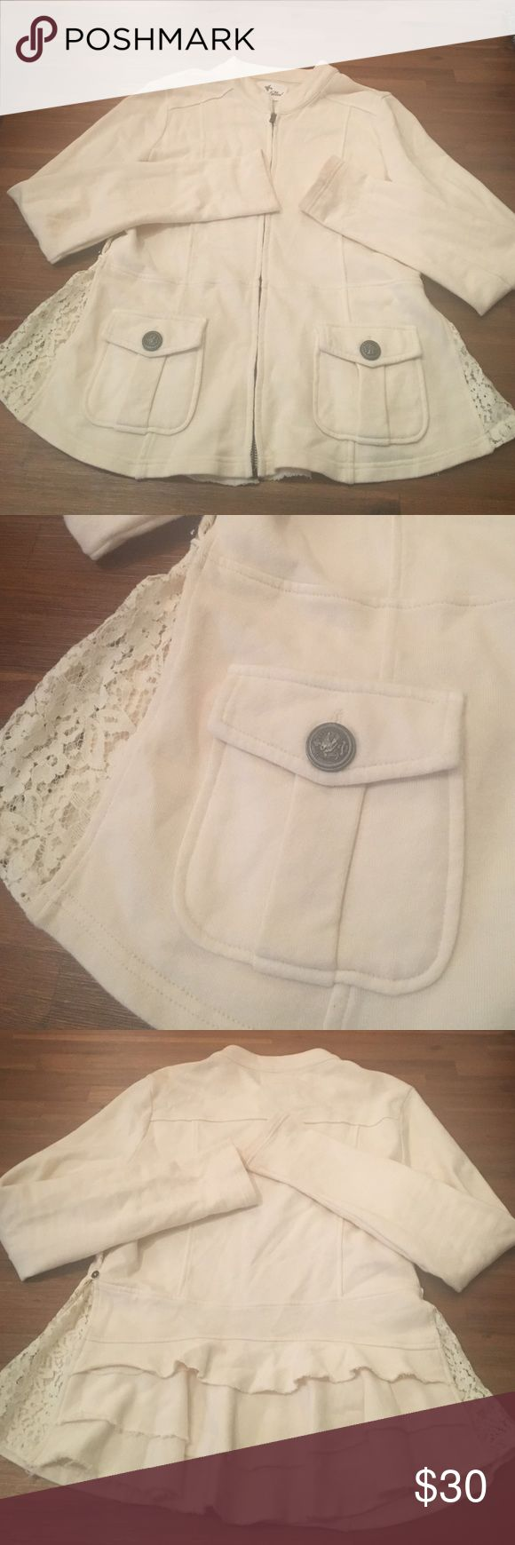 Others Follow Beautiful Cream Zip up Jacket Size medium cream zip up jacket. Beautiful pocket detail on the front. Zip up. Adjustable buttons on the side with lace detail. Peplum detail on the back. 24 inches in length and 16 inches on the bust. No stains or tears. In excellent condition. Smoke free home. 100% cotton. Others Follow Jackets & Coats