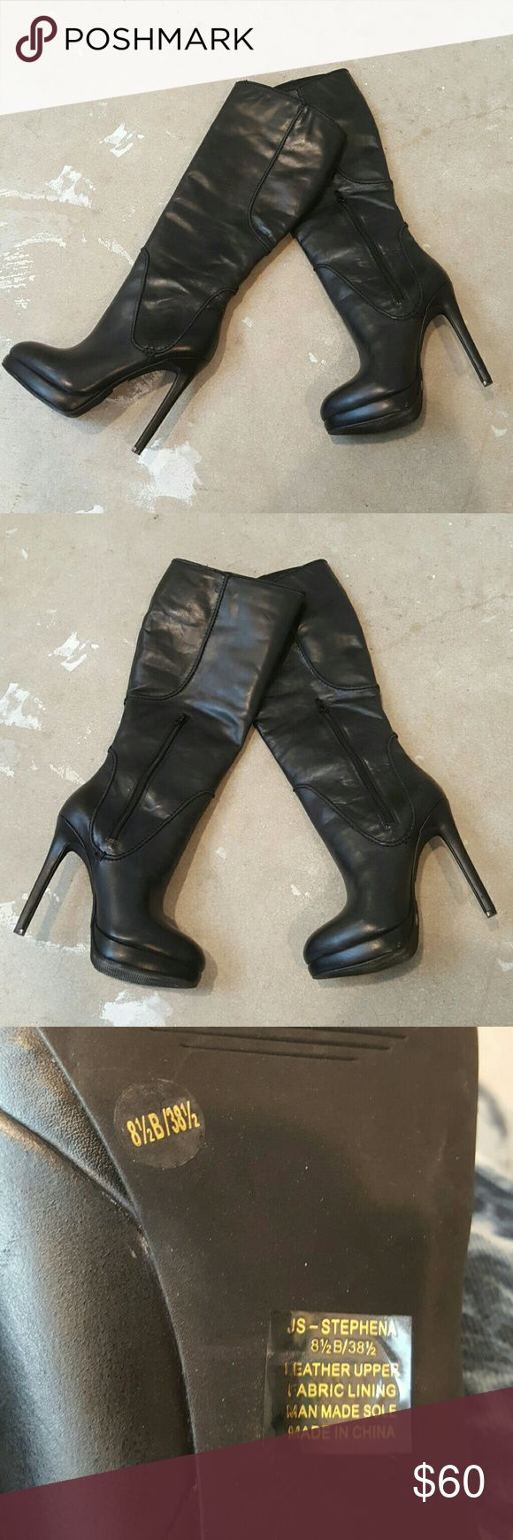 """Jessica Simpson Leather Mid-Calf Boots I am selling an exceptionally sexy and cool pair of mid -calf leather boots by Jessica Simpson. This particular pair features a 4"""" heel and a boot shaft from ankle to top of 12"""".  Excellent condition only worn once. Jessica Simpson Shoes Heeled Boots"""
