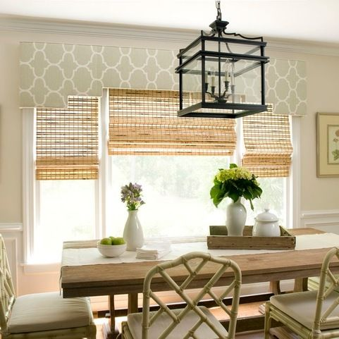 Breakfast Room   Traditional   Dining Room   Wilmington   Liz Carroll  Interiors   GREAT Combo   Bamboo Shades With The Cornice Board!