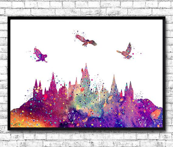 Hogwarts Castle From Harry Potter Watercolor Art by ArtsPrint