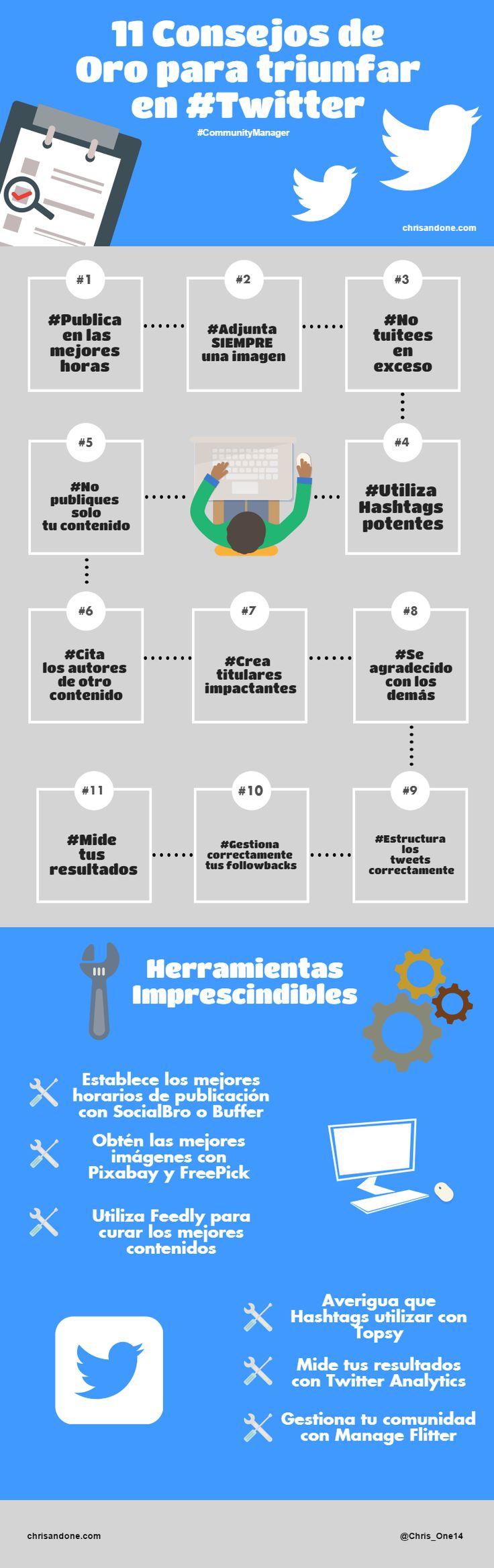 11 Consejos de Oro para triunfar en Twitter #infografia #infographic #Twitter