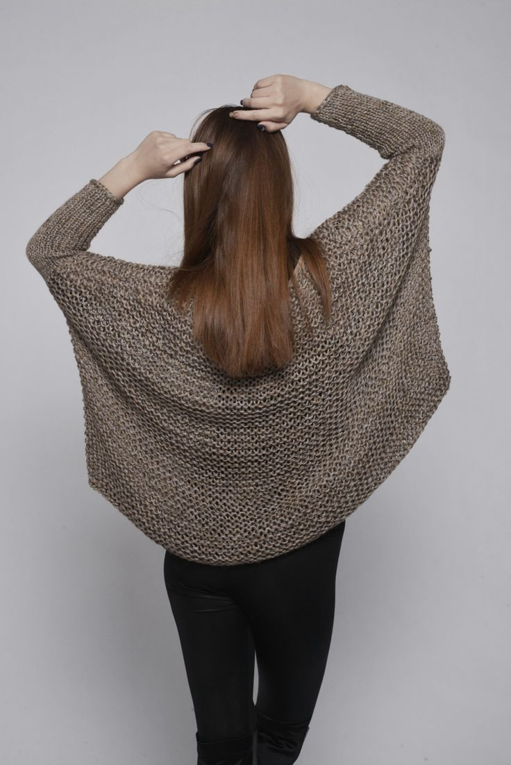 OVERSIZED Woman sweater/ Knit sweater in Mocha-W20 от MaxMelody
