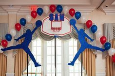 Glitter Events – NJ Event Planners | Basketball backdrop with single balloon arch