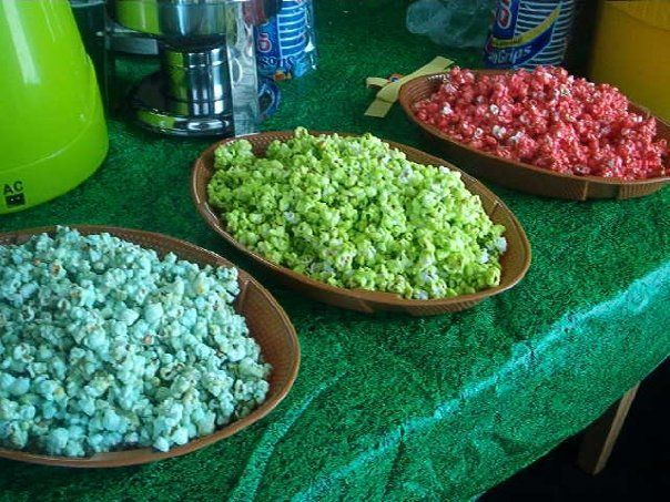 Kool Aid popcorn, imagine all the colors and flavors!! What a fun idea for a kids birthday party