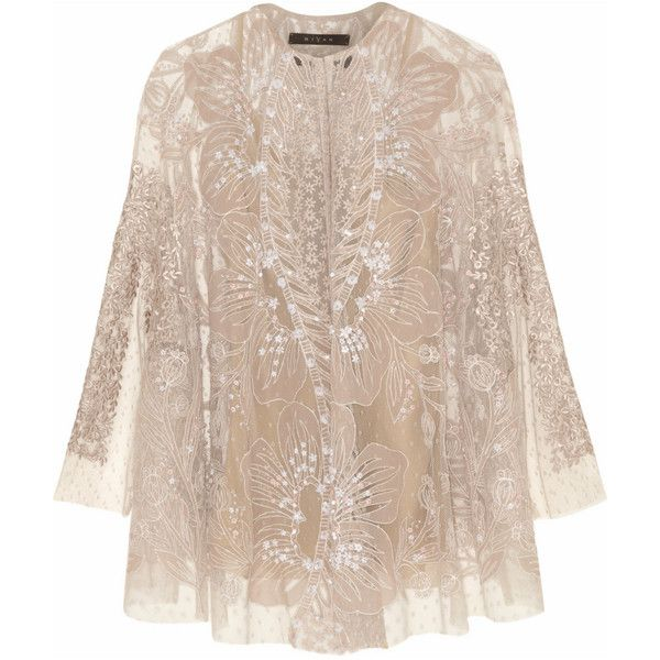 Biyan Kalla embellished tulle cape jacket (€1.705) ❤ liked on Polyvore featuring outerwear, jackets, tops, coats, coats & jackets, evening, white, white cami, lined jacket and embellished jacket