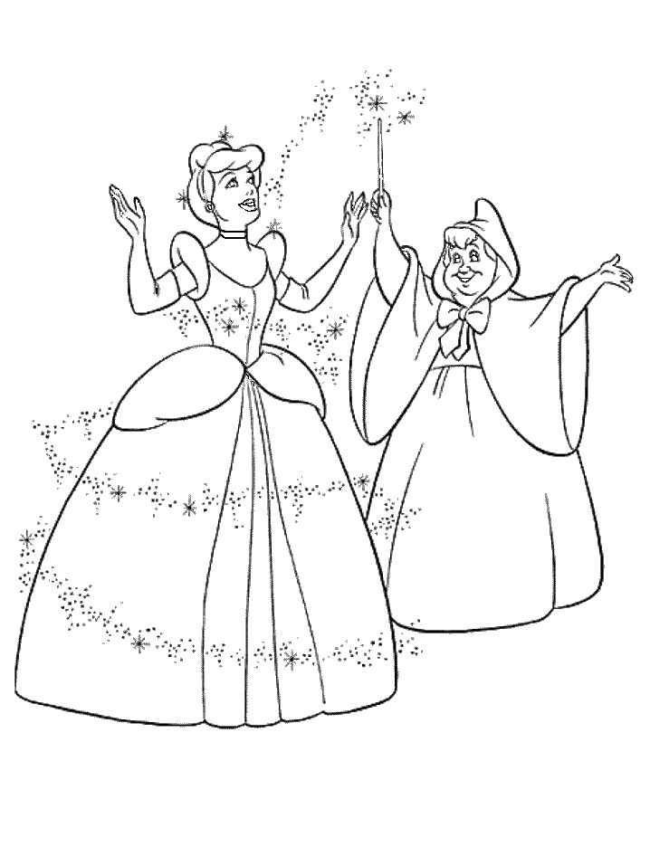 cinderella and fairy godmother coloring pages for kids printable cinderella coloring pages for kids - Cinderella Coloring Pages Kids