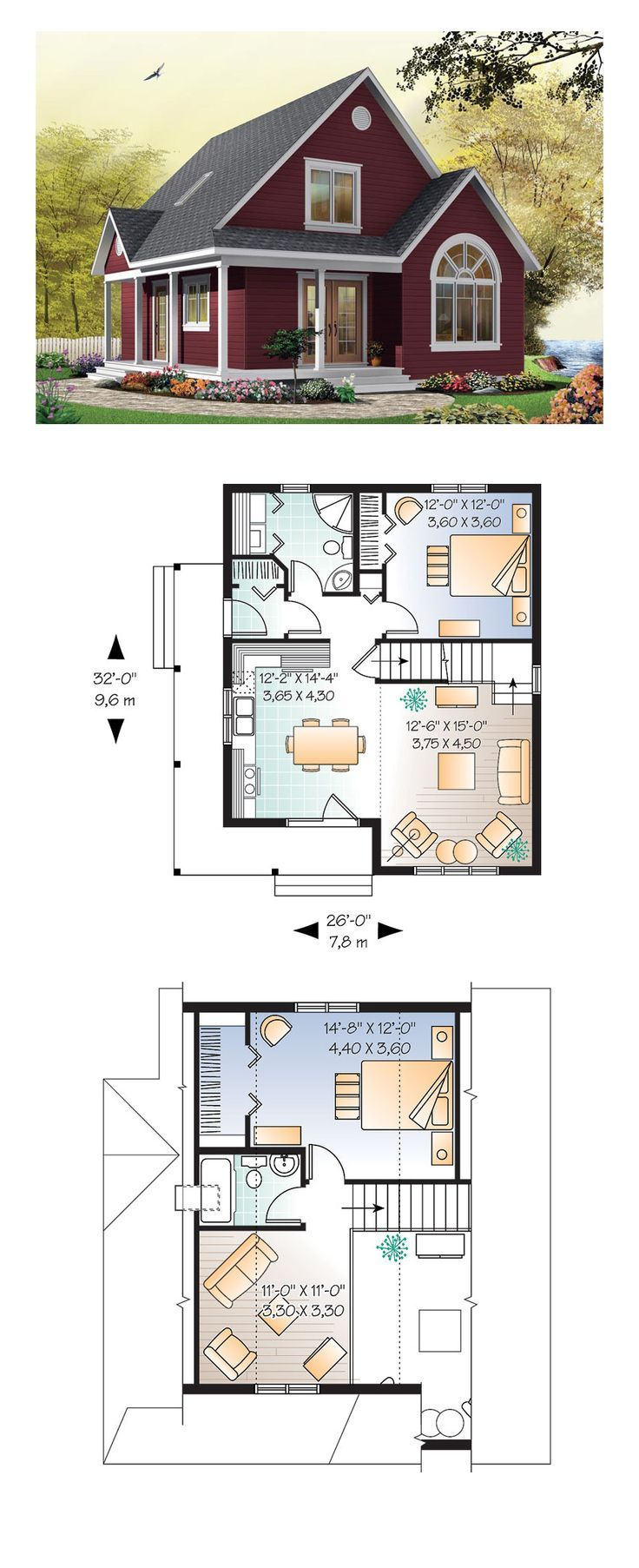 Cottage Style COOL House Plan ID: chp-28554   Total Living Area: 1226 sq. ft., 2 bedrooms and 2 bathrooms. #cottageplan