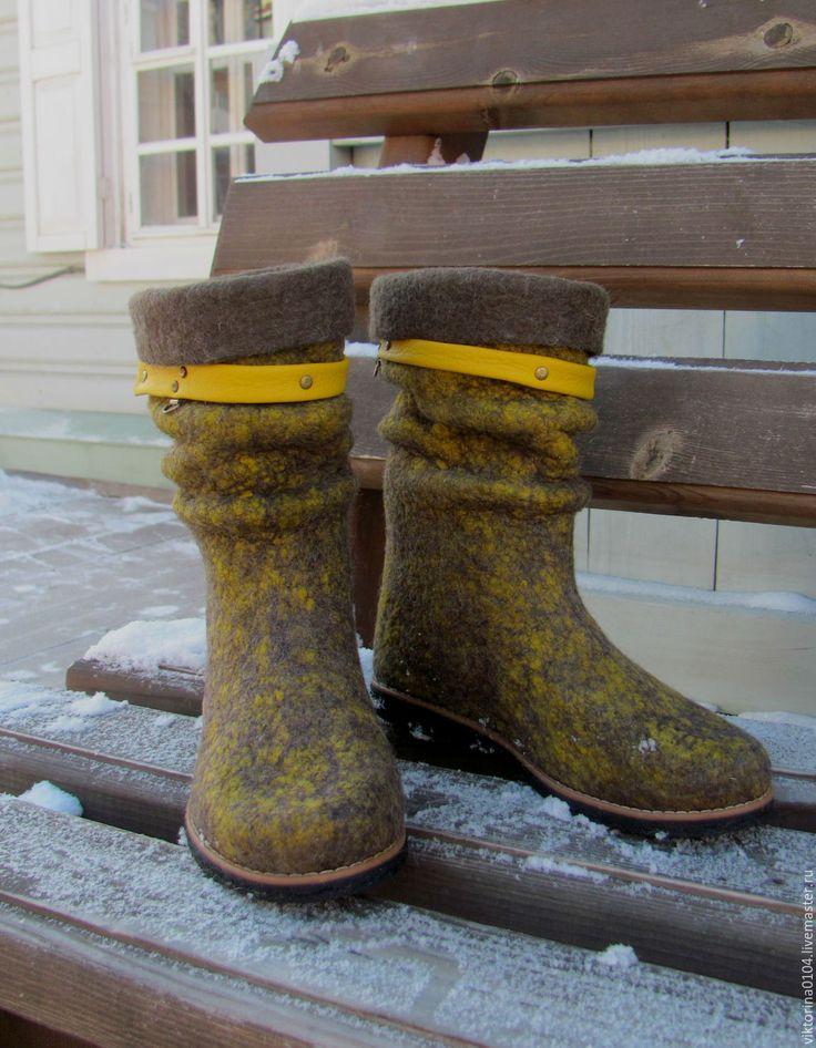 """Купить Сапожки укороченные """"Горчица 2"""" - валенки ручной работы, теплая обувь, валенки"""
