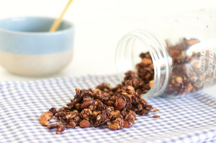 Granola met pure chocolade - Chickslovefood.com