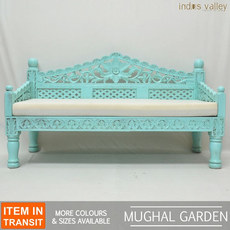 French Indian Carved Daybed Mattress Balinese Day Bed Blue