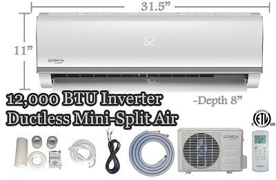 """""""Features & Benefits"""" 12,000 BTU Innova Ductless Mini-split Air Conditioner – Inverter SEER 16 – Cooling & Heating – Dehumidifier – 115v/60hz - Ultra Quiet – 16 Feet Line Set - Pre Charged Refrigerant + Accessories"""