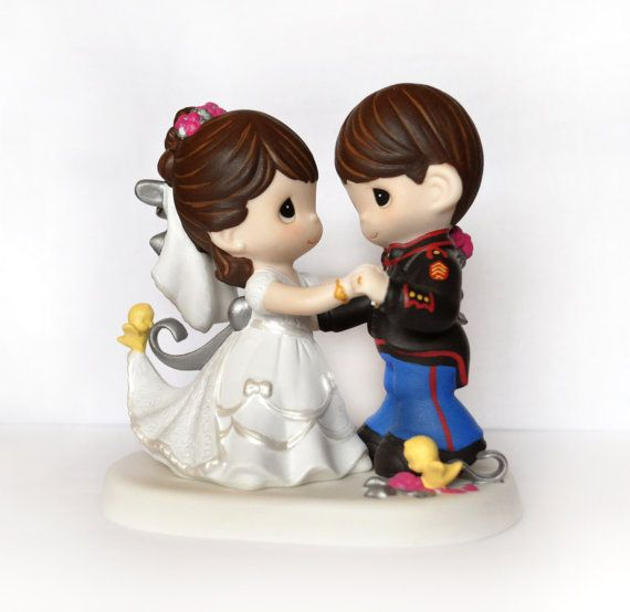 Precious Moments Hand Painted Military Cake Topper