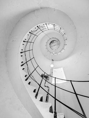 Christer Larsson - Snäckan på Vinga, photograph, Aerial view, Bird-eye, spiral staircase, wall art