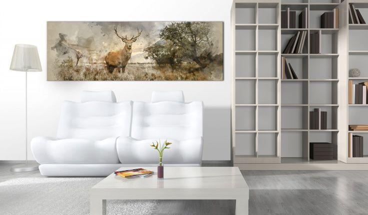Se adori la semplicità ispirata al mondo della natura - decora la casa in stile scandinavo! Opta per le decorazioni con simpatico cervo :) #quadro #quadri #stilescandinavo #natura #semplicità  #persoggiorno #percameradaletto #cervo #foresta #artgeist
