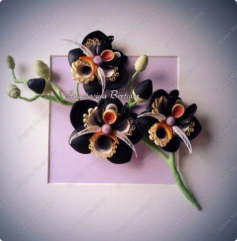 Картина панно рисунок Квиллинг Чёрная орхидея Бумажные полосы Проволока фото 1