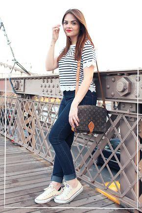 Karol Pinheiro » Look da Ka: Listras, jeans de cintura alta e All Star