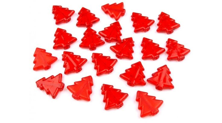Fenyőfa formájú műanyag dekorációs csomag - piros - Dekorációs kiegészítők - Gombolda Webáruház