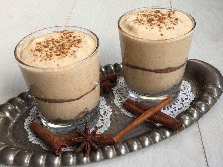 Villámgyors sütőtökös pohárkrém mascarponéval, fahéjjal és mézeskalács fűszer keverékkel.