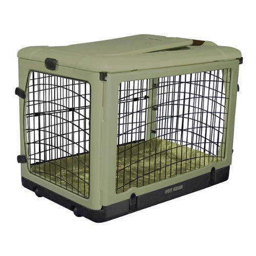 Pet Gear The Other Door Steel Crate with Plush Bolster Bed for cats and dogs up to 90 lbs