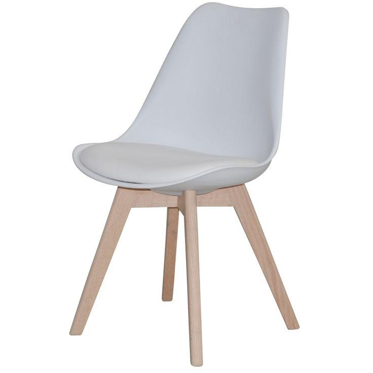 Jerry Plaststol med trä-underrede - Vit